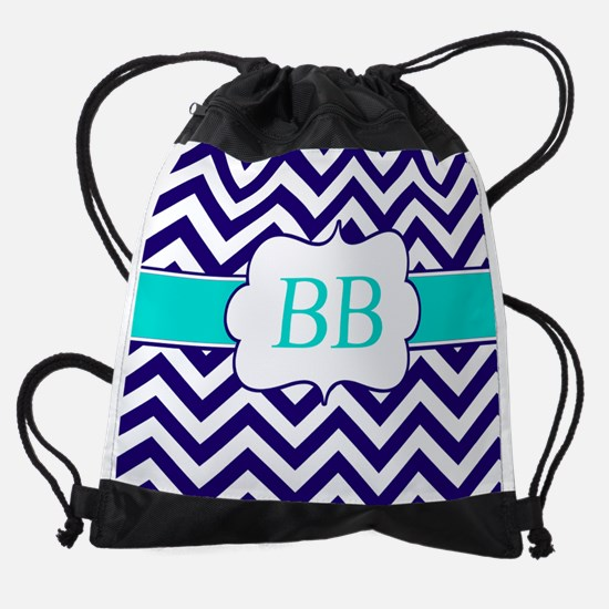 Navy Teal Chevron Personalized Drawstring Bag