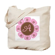 Pink and Brown Monogram A Tote Bag