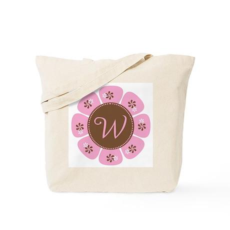 Pink and Brown Monogram W Tote Bag