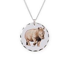 Rhino Rhinoceros Animal Necklace Circle Charm