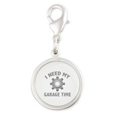 I Need My Garage Time Silver Round Charm