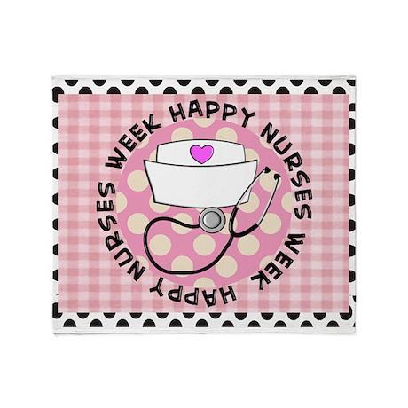 happy nurses week card pink Throw Blanket