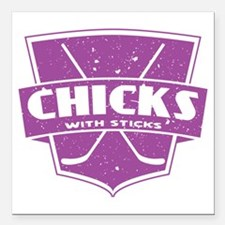 """Hockey Chicks With Sticks Square Car Magnet 3"""" x 3"""