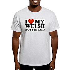 I Love My Welsh Boyfriend Ash Grey T-Shirt