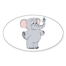 Elephant with Dreidel Oval Decal