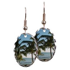 Palm trees on tropical beach Earring