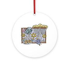 Hanukkah Festivities Ornament (Round)
