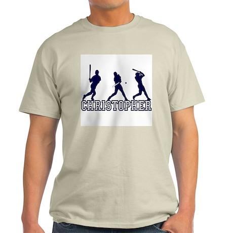 Baseball Christopher Personalized Ash Grey T-Shirt