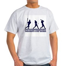 Baseball Christopher Personalized Ash Grey T-Shirt