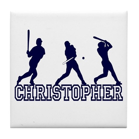 Baseball Christopher Personalized Tile Coaster