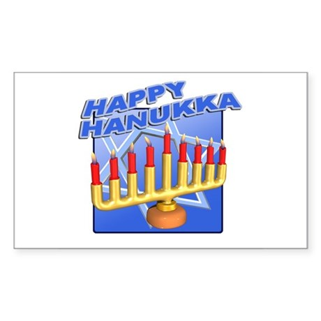 Happy Hanukka Menora Rectangle Sticker