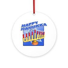 Happy Hanukka Menora Ornament (Round)