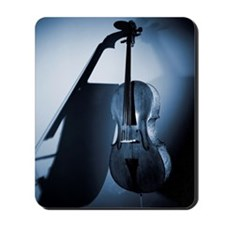 A cello leaning on a wall (B&W). Mousepad