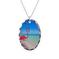 Pink flamingo decoration on tr Necklace