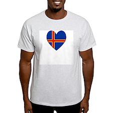 Aland Island Flag Heart Ash Grey T-Shirt