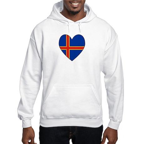 Aland Island Flag Heart Hooded Sweatshirt