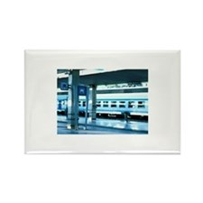 Train at a railroad st Rectangle Magnet (100 pack)