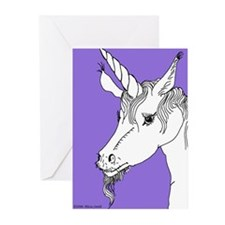 Lavender Interested Unicorn Greeting Cards (Packag