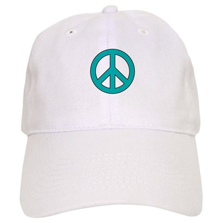 Turquoise Peace Sign Baseball Cap