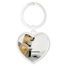 Dog wearing tie ,sitting on chair i Heart Keychain