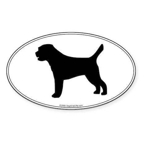 Border Terrier Silhouette Oval Sticker