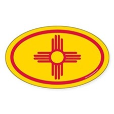 New Mexico Flag Euro Oval Stickers