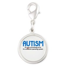 Autism Not a Processing Error Silver Round Charm