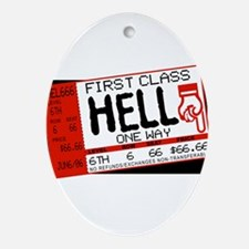 Ticket To Hell Ornament (Oval)