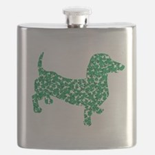 St. Patricks Day Dachshund Doxie Flask