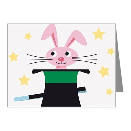 Rabbit appearing from a hat, Note Cards (Pk of 20)