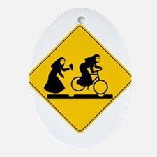 Bad Nuns Riding Bicycle Ornament (Oval)
