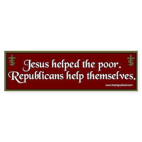 """Jesus/Republicans"" Bumpersticker"