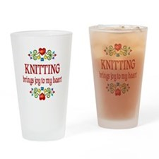 Knitting Joy Drinking Glass