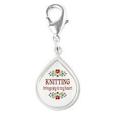 Knitting Joy Silver Teardrop Charm