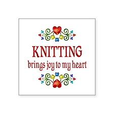 "Knitting Joy Square Sticker 3"" x 3"""