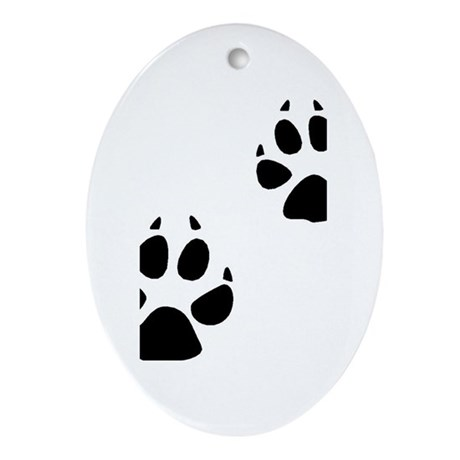 Coyote Tracks Oval Ornament