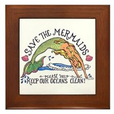 Save the Mermaids Framed Tile