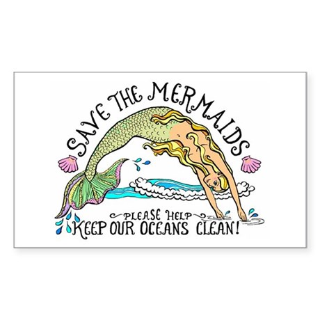 Save the Mermaids Sticker (Rectangle)