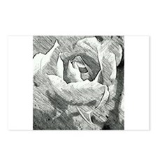 Rose Sketched in Charcoal Postcards (Package of 8)