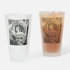 Rose Sketched in Charcoal Drinking Glass