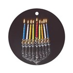 Lit Candles Menorah (round) Round Ornament