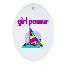 Girl Power Ice Sailing Ceramic Ornament
