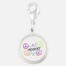 Hockey Peace Sign Silver Round Charm