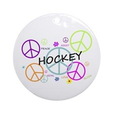 Hockey Peace Sign Ornament (Round)