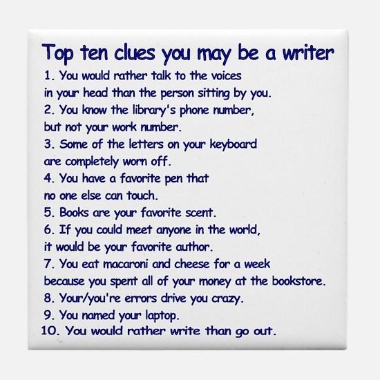 Writer Clues Writing Tile Coaster