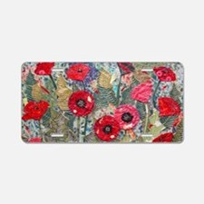 Poppy Fields Aluminum License Plate