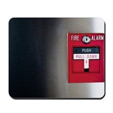 Close-up of fire alarm on wall Mousepad