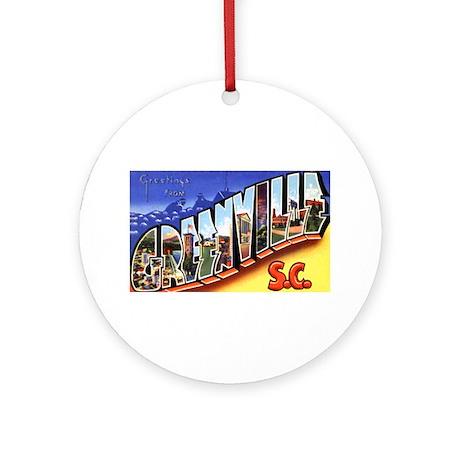 Greenville South Carolina Greetings Ornament (Roun