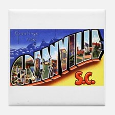 Greenville South Carolina Greetings Tile Coaster