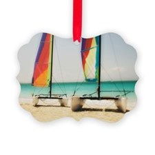 Catamarans on beach Ornament